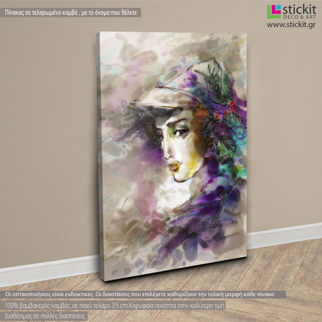Beautiful woman in a hat, πίνακας σε καμβά