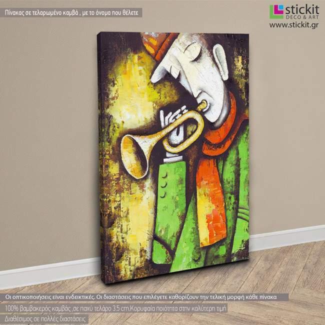 Trumpet jazz player, πίνακας σε καμβά