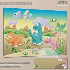Cute dinosuars, παιδικός - βρεφικός πίνακας σε καμβά