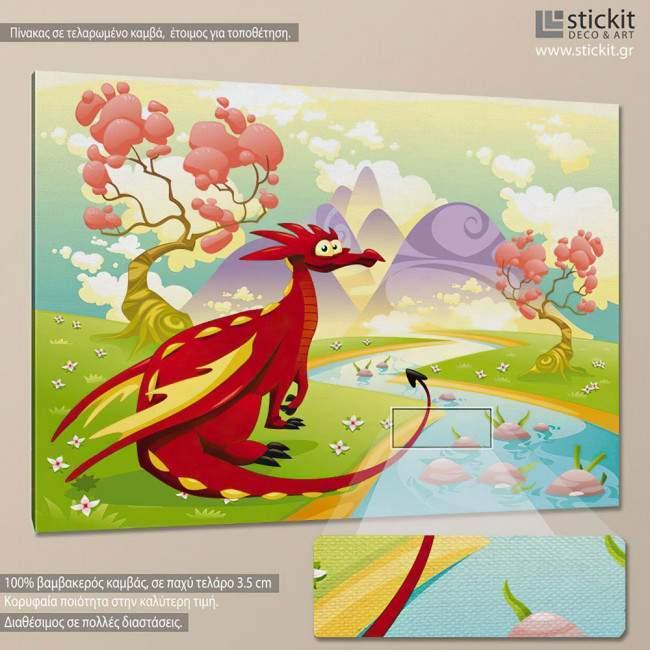Red dragon, παιδικός - βρεφικός πίνακας σε καμβά