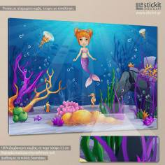 Mermaid in the sea, παιδικός - βρεφικός πίνακας σε καμβά