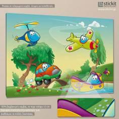 Crazy machines, παιδικός - βρεφικός πίνακας σε καμβά