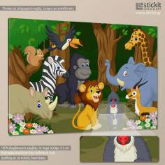 Happy jungle animals, παιδικός - βρεφικός πίνακας σε καμβά