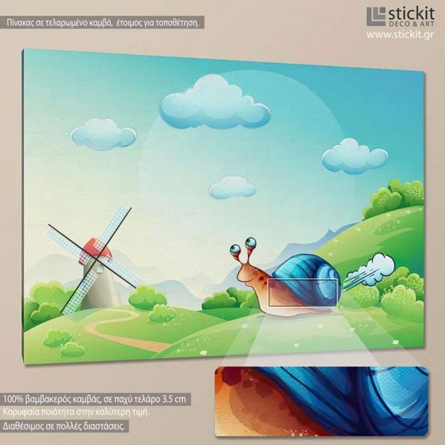 Running snail, πίνακας σε καμβά