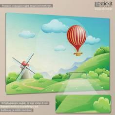 Air balloon at countryside, παιδικός - βρεφικός πίνακας σε καμβά