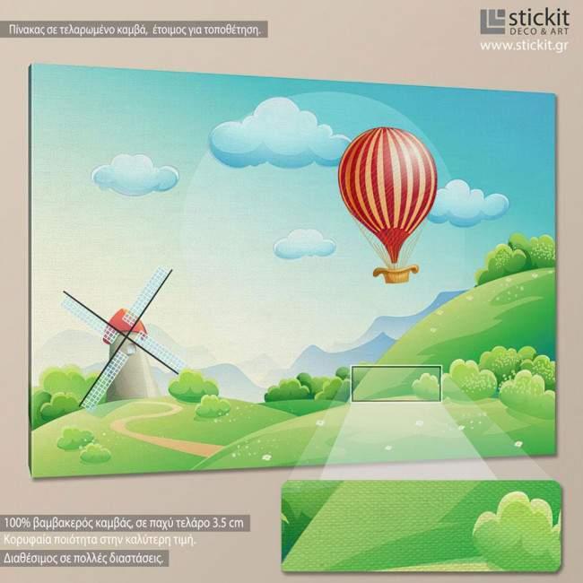 Air balloon at countryside., πίνακας σε καμβά