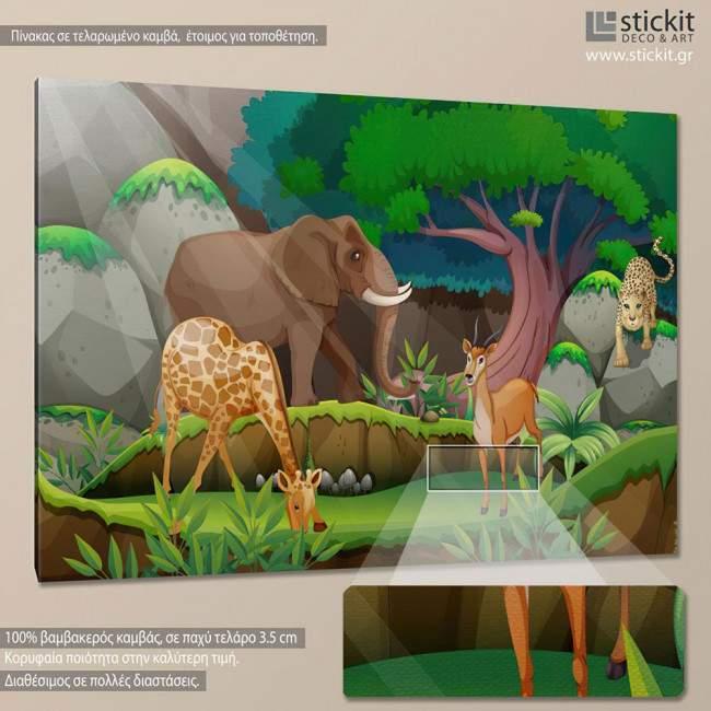 Jungle, παιδικός - βρεφικός πίνακας σε καμβά
