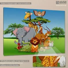 Jungle friends, παιδικός - βρεφικός πίνακας σε καμβά