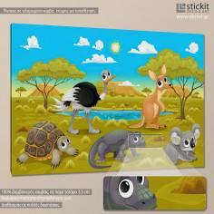Friends in Australia, παιδικός - βρεφικός πίνακας σε καμβά
