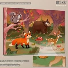 Cute animal friends, παιδικός - βρεφικός πίνακας σε καμβά