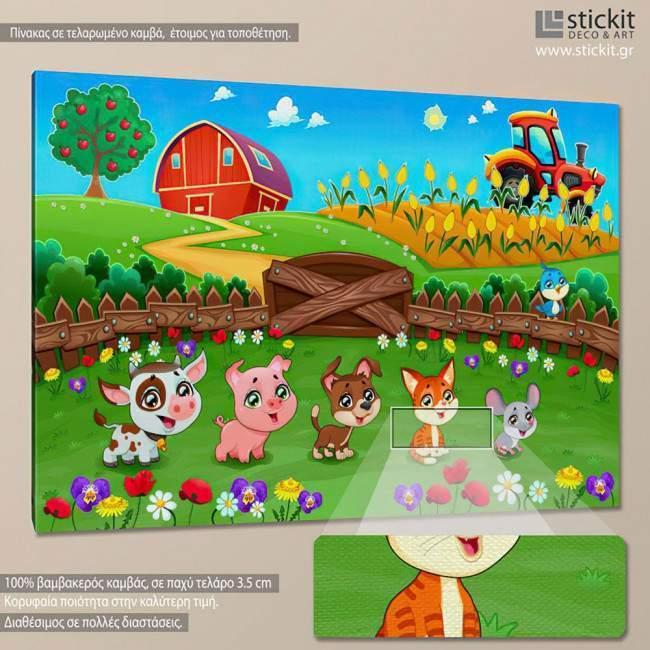 Cute farm animals, πίνακας σε καμβά