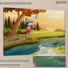 Little fisherman, παιδικός - βρεφικός πίνακας σε καμβά