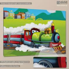 Steaming train, παιδικός - βρεφικός πίνακας σε καμβά