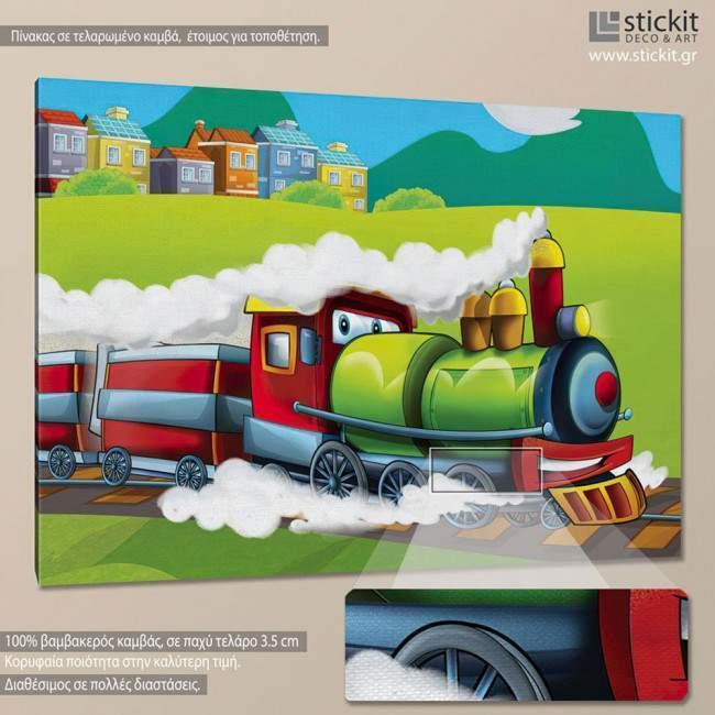 Steaming train, πίνακας σε καμβά