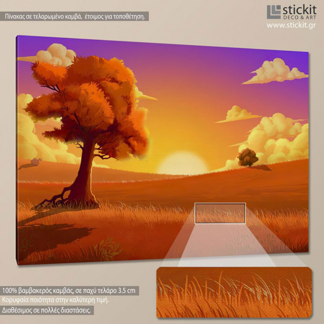 Orange sunset, πίνακας σε καμβά