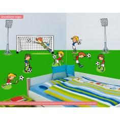 Γήπεδο ποδοσφαίρου, με ποδοσφαιριστές και προβολείς