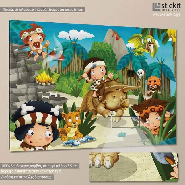 Stoneage scene, παιδικός - βρεφικός πίνακας σε καμβά