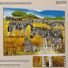 Zebra scene, παιδικός - βρεφικός πίνακας σε καμβά