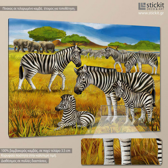 Zebra scene, πίνακας σε καμβά