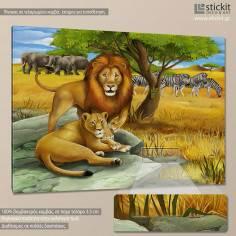 Lion couple, παιδικός - βρεφικός πίνακας σε καμβά