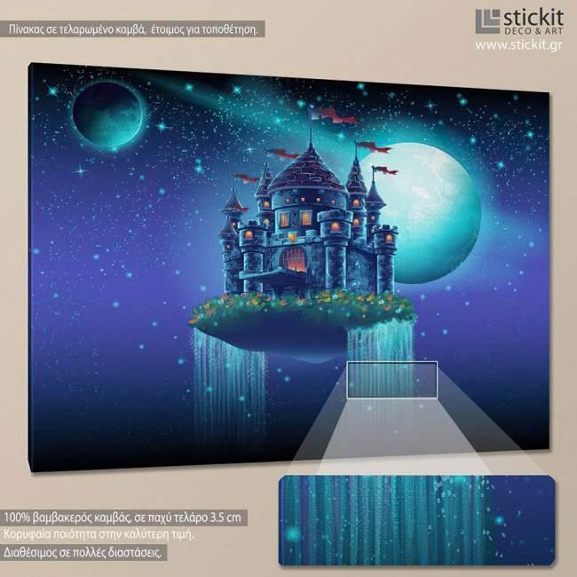 Floating castle, παιδικός - βρεφικός πίνακας σε καμβά