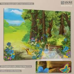 Forest scene, παιδικός - βρεφικός πίνακας σε καμβά