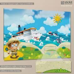 Little boat explorer, παιδικός - βρεφικός πίνακας σε καμβά