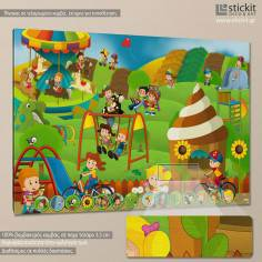 At the playground, παιδικός - βρεφικός πίνακας σε καμβά