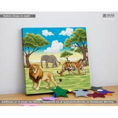 African wild life, Τετράγωνος παιδικός - βρεφικός πίνακας σε καμβά