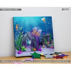 Sea floor life, Τετράγωνος παιδικός - βρεφικός πίνακας σε καμβά