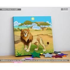 The lion, Τετράγωνος παιδικός - βρεφικός πίνακας σε καμβά