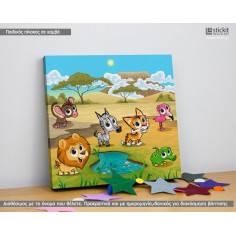 Cute jungle animals, Τετράγωνος παιδικός - βρεφικός πίνακας σε καμβά