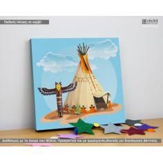 Indian tent and totem, Τετράγωνος παιδικός - βρεφικός πίνακας σε καμβά