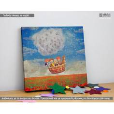 Dandelion ride, Τετράγωνος παιδικός - βρεφικός πίνακας σε καμβά