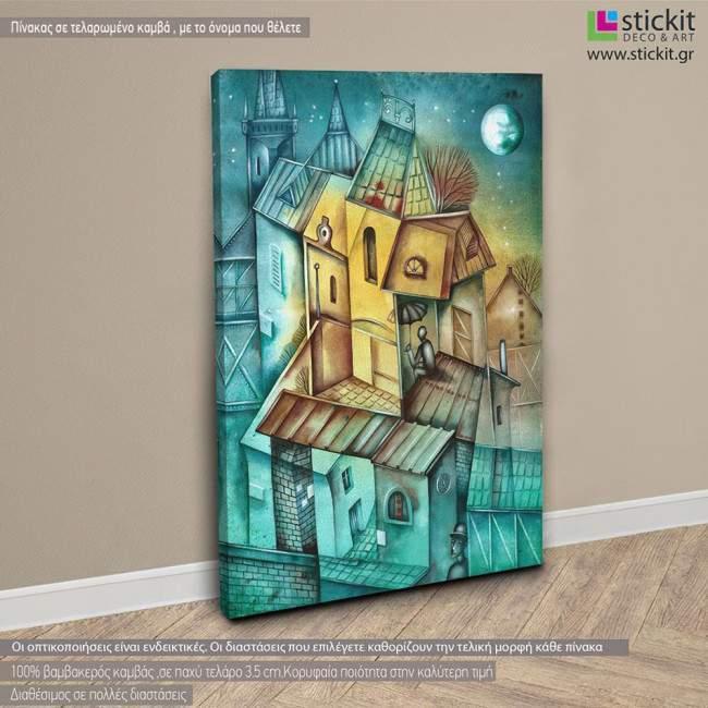 Cubistic city ΙΙΙ, πίνακας σε καμβά κάθετος