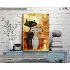 The cats, κάθετος πίνακας σε καμβά