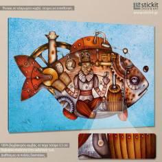 Travel into the big fish, πίνακας σε καμβά