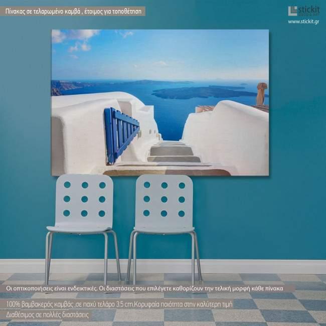 Open blue door Santorini, πίνακας σε καμβά