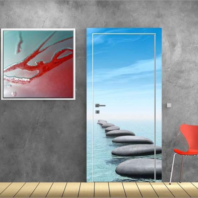 Πέτρινο μονοπάτι στην θάλασσα Αυτοκόλλητο πόρτας, ντουλάπας