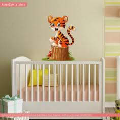 Χαρούμενο τιγράκι, αυτοκόλλητο τοίχου παιδικό με ζωάκι