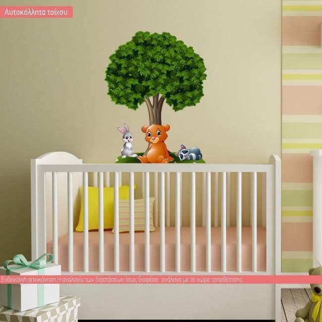 Ζωάκια στο δέντρο, αυτοκόλλητο τοίχου παιδικό με ζωάκι