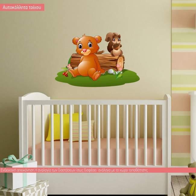 Αρκουδάκι και σκιούρος, αυτοκόλλητο τοίχου παιδικό με ζωάκια