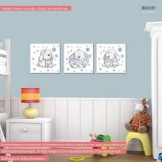 Κουνελάκια, τρίπτυχος παιδικός - βρεφικός πίνακας σε καμβά