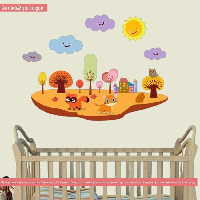 Νησάκι με ζωάκια του δάσους, αυτοκόλλητο τοίχου παιδικό με ζωάκια, δέντρα, ήλιο, σύννεφα