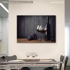 Red wine, πίνακας σε καμβά με μπουκάλι κόκκινο κρασί και 2 ποτήρια