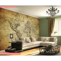 Vintage world map 1814, φωτογραφική ταπετσαρία αυτοκόλλητη με χάρτη