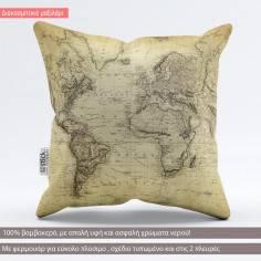 Vintage world map 1814, διακοσμητικό μαξιλάρι με χάρτη