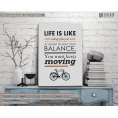 Life is a like riding a bicycle, πίνακας σε καμβά