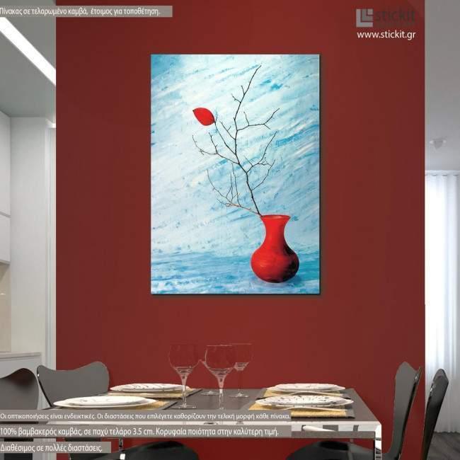 red leaf, πίνακας σε καμβά κάθετος με βάζο και κόκκινο φύλο