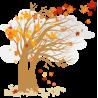 Φθινοπωρινό δέντρο με σύννεφα, αυτοκόλλητο τοίχου